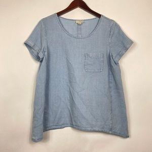 J Jill Women Size Small Blouse Blue Chambray Denim